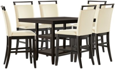 high top table with 6 chairs portable folding dining room sets chair city furniture montclair dark tone 4 upholstered barstools