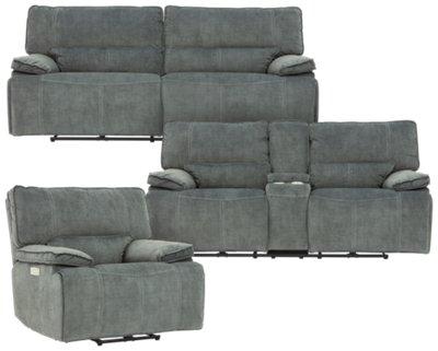 gray microfiber power reclining sofa retro corner uk city furniture jesse dark