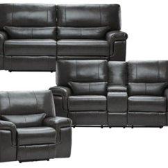 Dark Gray Leather Living Room Furniture Mid Century Modern Apartment Alexander Weston Vinyl Power Reclining