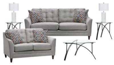 7 piece living room package furniture set jensen light gray fabric