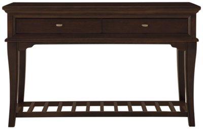 cherry sofa table with storage dark brown leather polish drawers