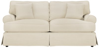 white sofa slipcover cotton foam sofas livia french country tufted linen grey wash