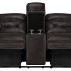 Gray Microfiber Power Reclining Sofa Macys Leather Set Phoenix Dark Console Loveseat