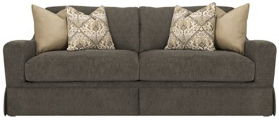 gray fabric sofa chair madison rattan garden furniture corner stool dining table set grey steal a outlet