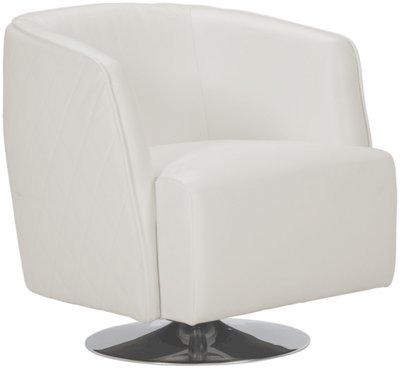 Loki White Microfiber Swivel Accent Chair