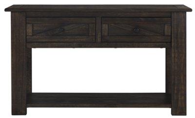 sofa table storage restoration hardware sleeper clearance city furniture garrett dark tone