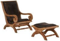 City Furniture: Ray Dk Brown Leather Chair & Ottoman