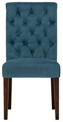 Sloane Dark Blue Fabric Upholstered Side Chair