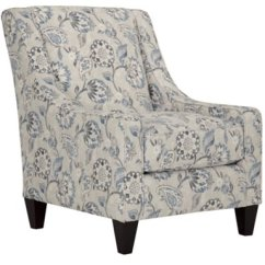 Blue Pattern Accent Chair Rubber Foot Protectors Sylvie Fabric