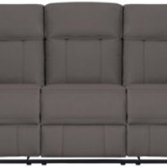 Grey Power Reclining Sofa Clearance Faux Leather Rhett Gray Microfiber