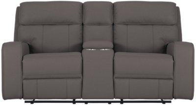 gray microfiber power reclining sofa tilly rhett console loveseat