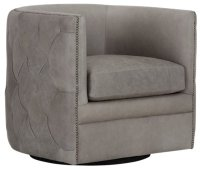 City Furniture: Palazzo Gray Leather Swivel Accent Chair