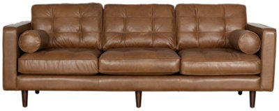 tufted brown leather sofa what furniture to put behind medium brilliant