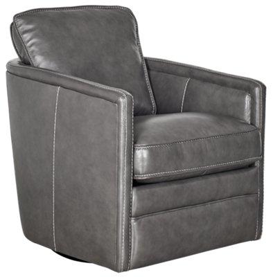 Alexander Gray Leather Swivel Chair