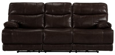 reclining sofa leather brown denim cover liam dark and vinyl power