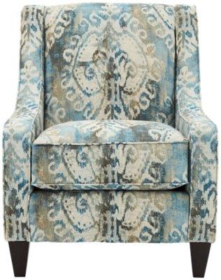 blue pattern accent chair wicker swing soledad fabric