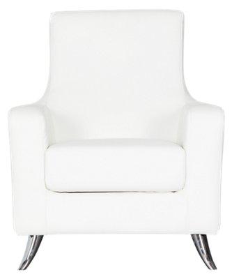 Marquez White Microfiber Accent Chair  Home Accents