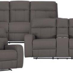Gray Microfiber Power Reclining Sofa Collection Erinne Bed City Furniture Rhett