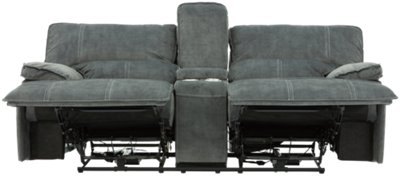 gray microfiber power reclining sofa grey rattan garden corner city furniture jesse dark two arm