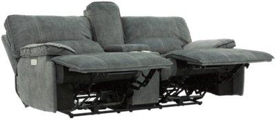gray microfiber power reclining sofa moheda bed craigslist city furniture jesse dark