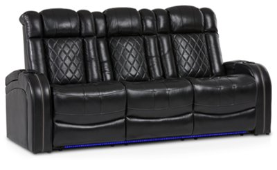 deacon leather power reclining sofa reviews angled metal legs bolton black