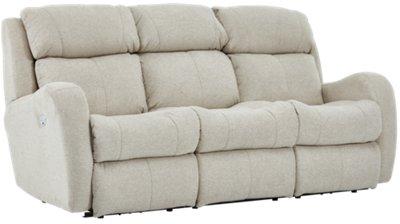 City Furniture: Finn Light Beige Fabric Power Reclining Sofa