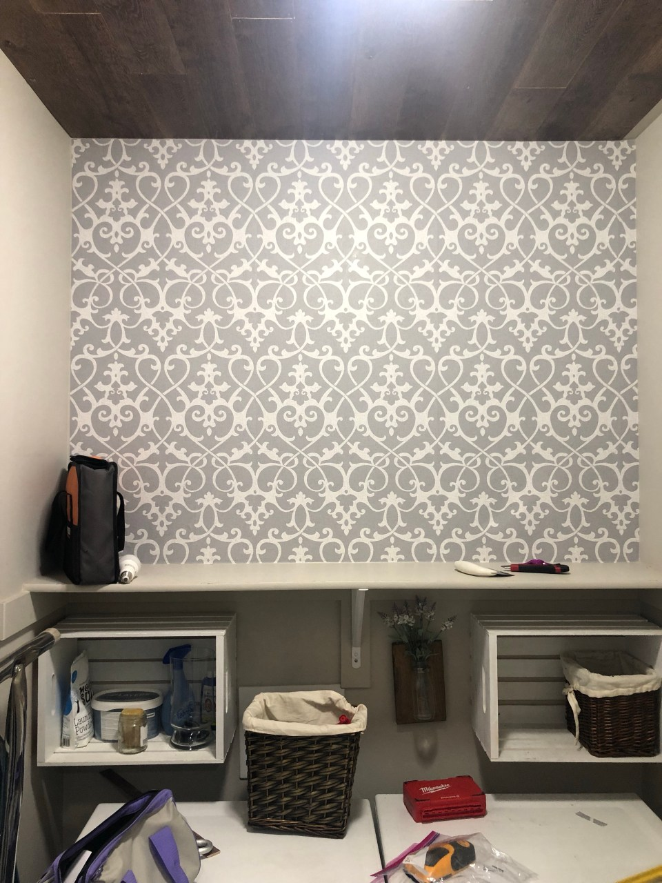 Laundry Room Renovation with Peel and Stick wallpaper