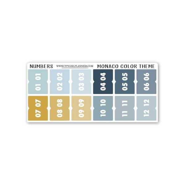 Mini Monaco Numbers planner tabs