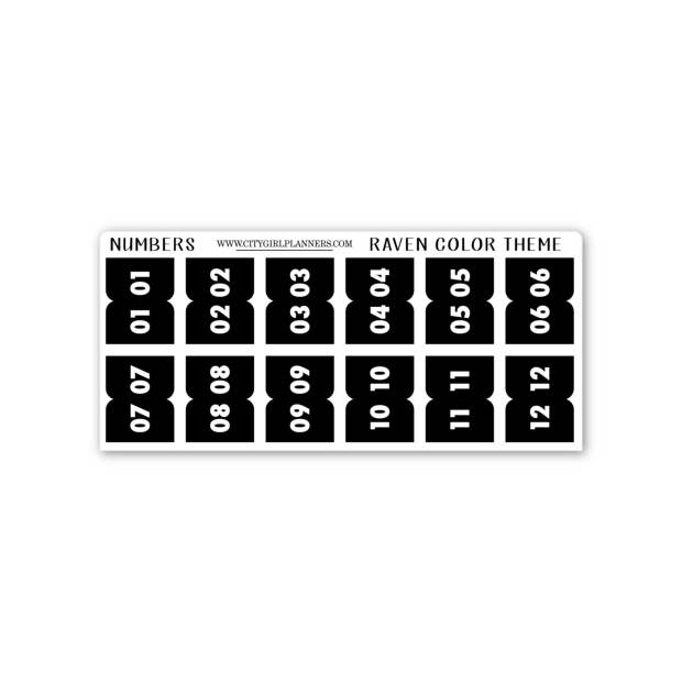 Mini Black Raven Numbers planner tabs