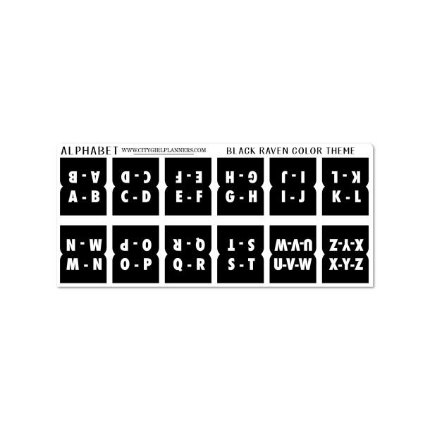 Mini Alphabet Black Raven planner tabs