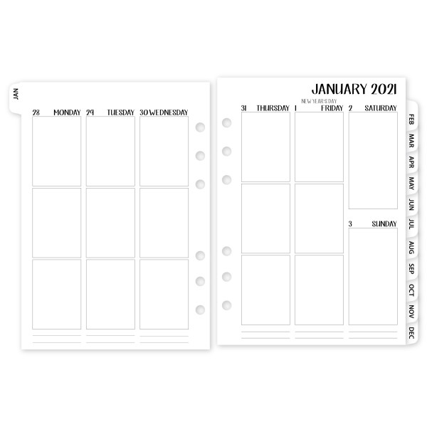 A5 Week on 2 Pages Vertical 2021 calendar with White Tabs