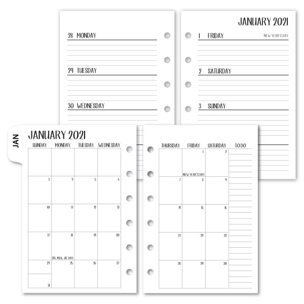 Personal Complete Horizontal 2021 calendar with white tabs