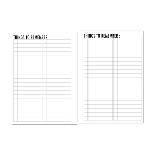 Things to Remember checklist