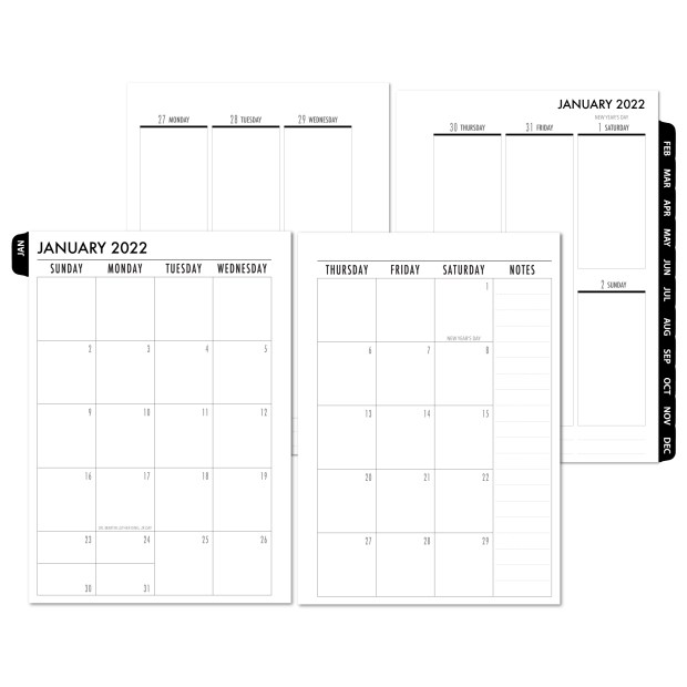 2022 Complete Vertical Tabbed Deluxe Calendar - BLACK TABS
