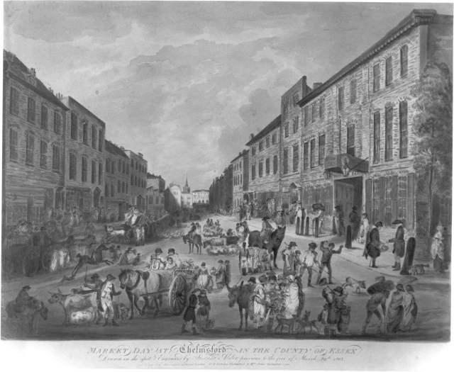 An engraving of Market Day in Chelmsford from 1808