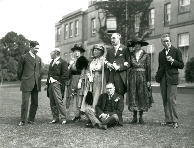 Sir Daniel Gooch and family on the back lawn of Hylands House in the early 20th century