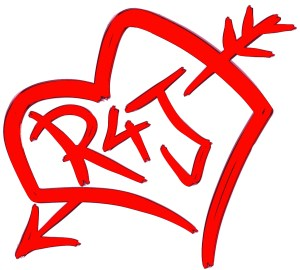 A logo for the R4J production showing an illustration of a heart with an arrow through it and the text R4J