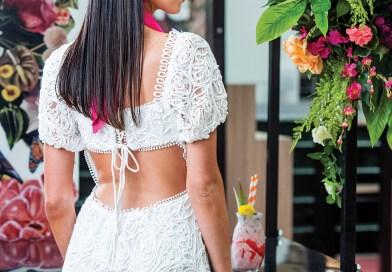 Dress - Myer $179.95 • Headband - Myer $49.95 • Bag - Myer $119.95 Shoes - Forever New $79.99 • Pink Scarf - Sonlia $9.95 • Jewellery – Colette