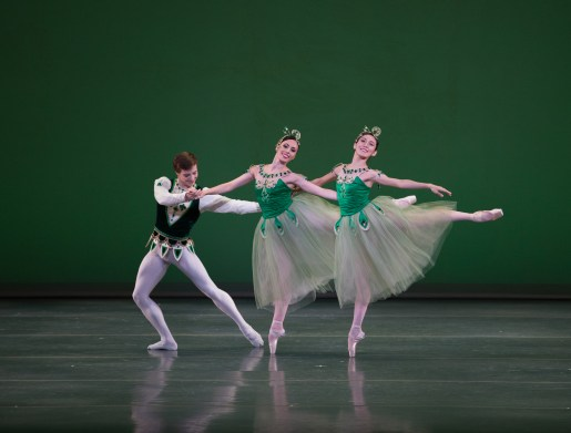 Isaac Akiba, Dalay Parrondo, Rie Ichikawa in Boston Ballet's Emeralds ©The George Balanchine Trust. Photo by Rosalie O'Connor