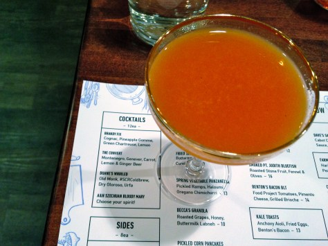 The Convert is a beautiful sunrise-coloured cocktail with carrot, lemon, ginger beer, Montenegro and Genever.