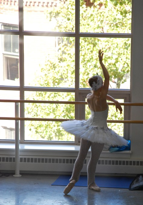 Ashley Ellis warming up to rehearse Swan Lake.