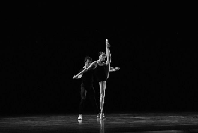Principals Lia Cirio and Paula Arrais in Boston Ballet's Bach Cello Suites.