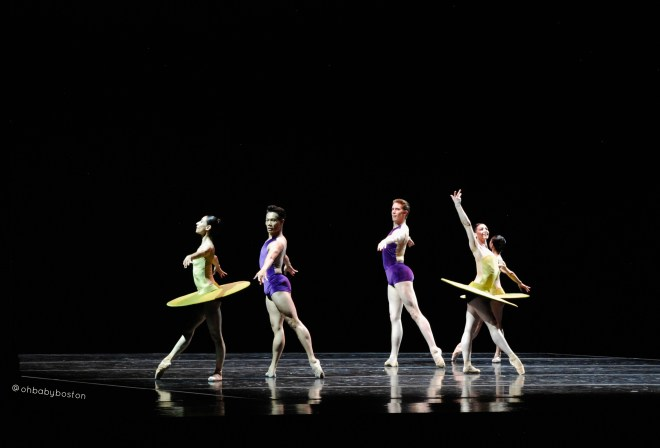 William Forsythe's The Vertiginous Thrill of Exactitude. (left to right) Principal Kathleen Breen Combes, Principal John Lam, Second Soloist Bo Busby, Principal Erica Cornejo.