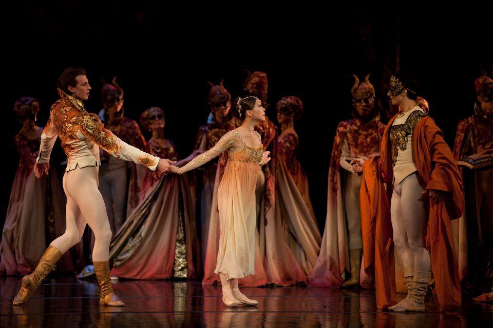 Sabi Varga, Misa Kuranaga, and Nelson Madrigal in John Cranko's Romeo & Juliet; photo by Rosalie O'Connor, courtesy Boston Ballet