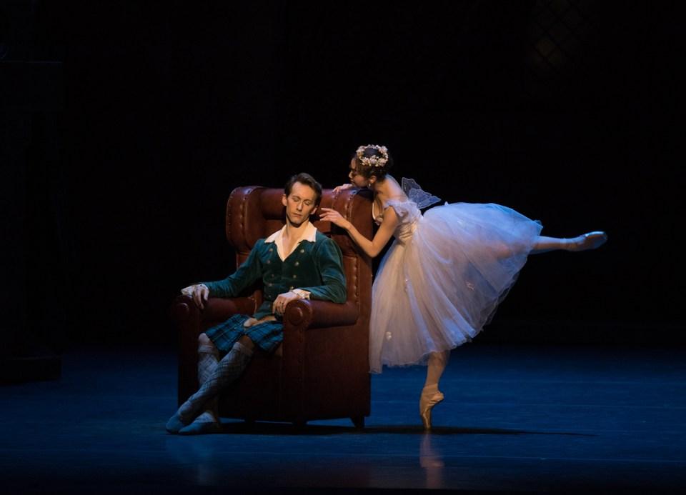 Patrick Yocum and Misa Kuranaga in August Bournonville's La Sylphide; photo by Rosalie O'Connor, courtesy Boston Ballet