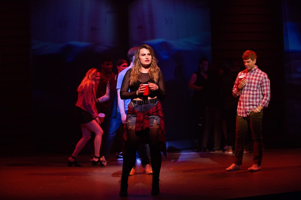 Jagged Little Pill Production Photo Kathryn Gallagher as Bella and Logan Hart as Andrew in American Repertory Theater's Jagged Little Pill. Photo: Evgenia Eliseeva.