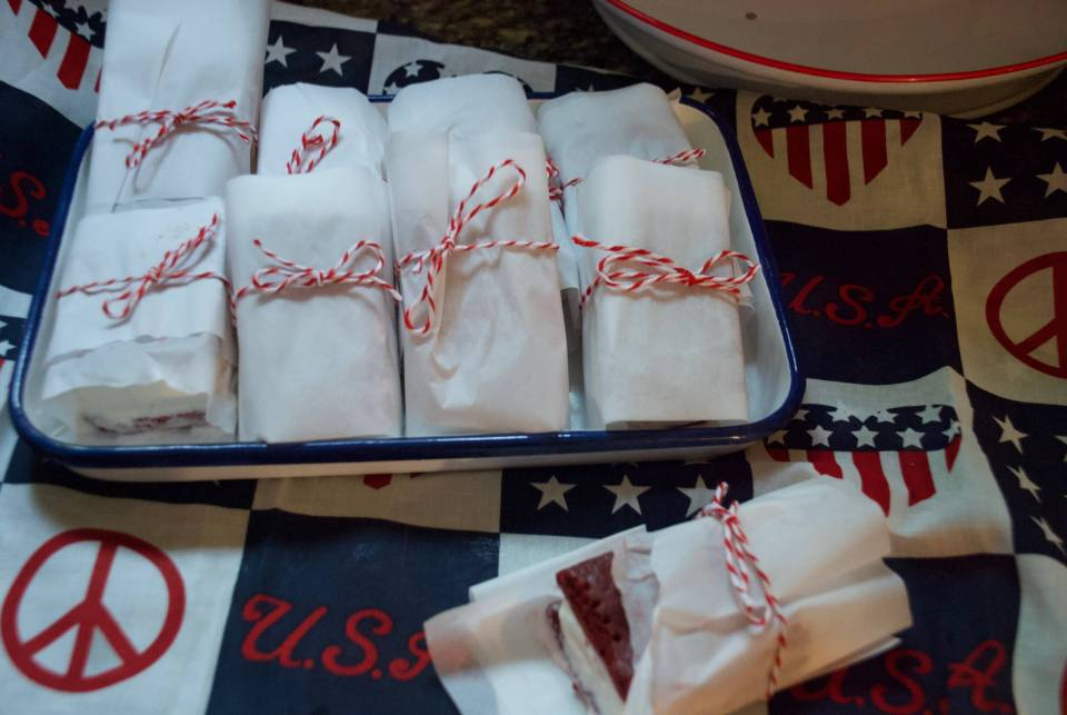 Red Velvet and Vanilla Ice cream Sandwiches
