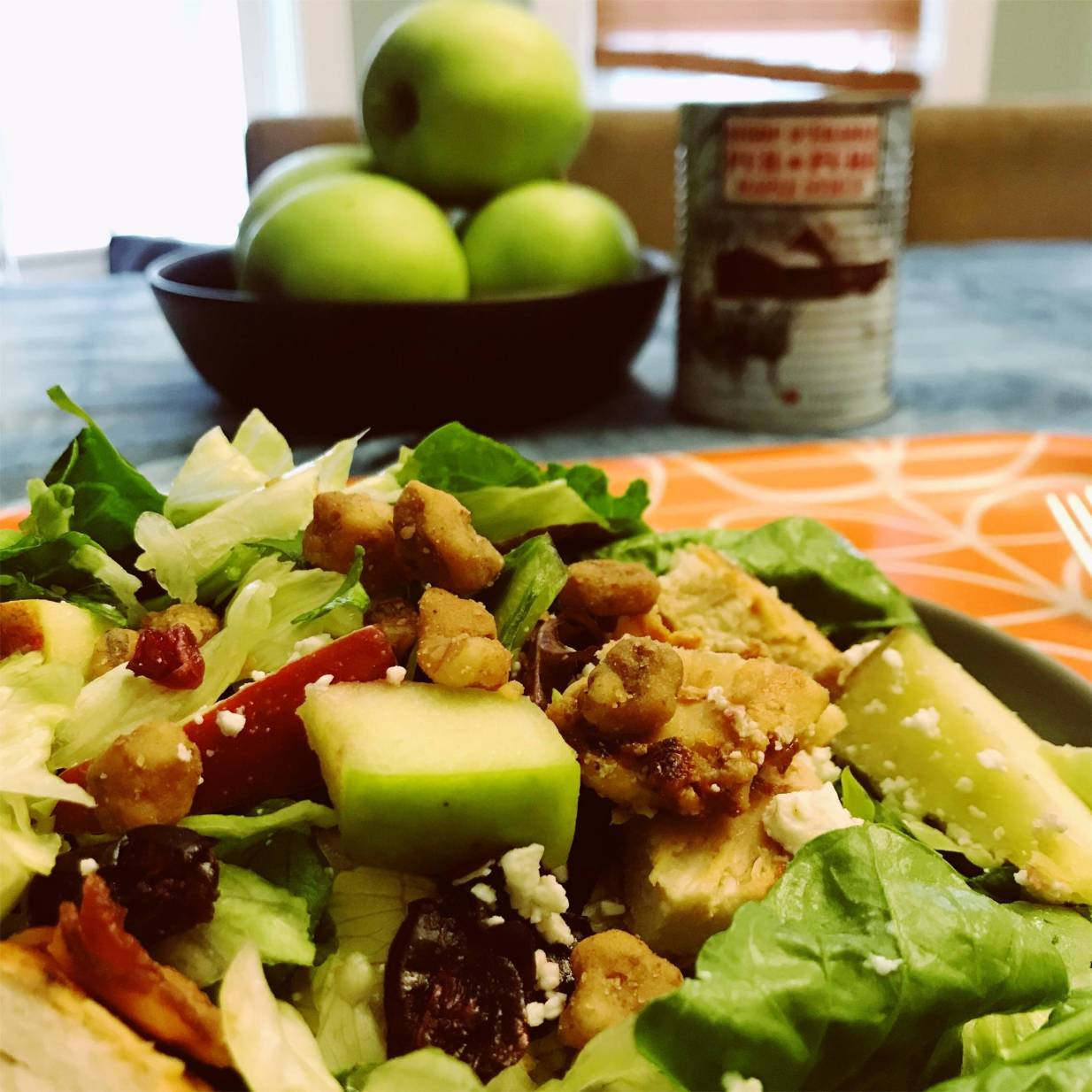 Wendy's Harvest Chicken Salad is filled with delicious fruits and vegetables as well as grilled chicken, salty bacon and topped with sweet walnuts and a tart apple cider vinaigrette.