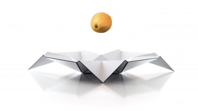 """""""Durian"""", Dibond - Ravno ploščo iz lahkotne in visokokakovostne mešanice aluminijastega materiala lahko le v nekaj sekundah spremenite v 3D skledo za sadje."""