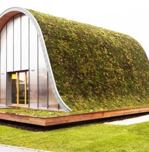 Zanimiva s travo poraščena hiša.